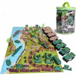 120pc Military Toy Soldiers Green Army Men Action Figures Toys Kit with Vehicles