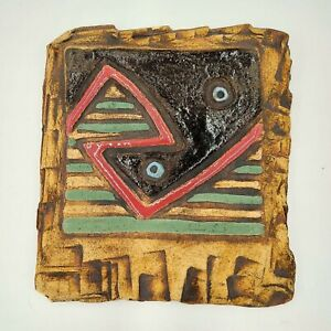 Native American Style Pottery Clay Art Geometric Designs Signed 1989 Vintage