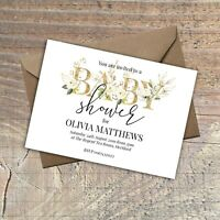Personalised Baby Shower Invitations GOLD Effect and floral PACKS OF 10