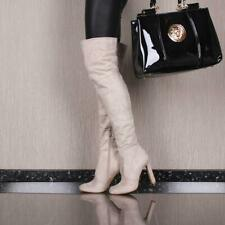 Sexy Heeled Ladies Thigh High Boots Made of Velvet Beige #E21073