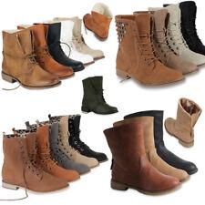 Damen Stiefeletten Worker Boots & Cowboy Stiefel 99284 Gr. 36-41 Schuhe