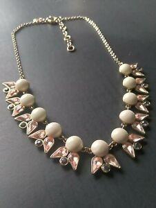 J CREW Necklace White Resin Stones Pink and Purple Rhinestones