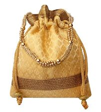 Rich Brocade Potli Bag Indian Ethnic Drawstring Handbag Marriage Return Gift GL3
