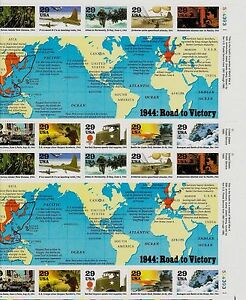 US HISTORY 1994 SCOTT #2838 WWII 1944: ROAD TO VICTORY 20 MNH VF 29c STAMP SHEET