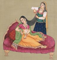 Mughal Miniature Painting Empress With Dassi Shringar (Make-Up) Art On Paper