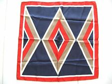 1970's VINTAGE ABSTRACT SCARF RED, WHITE, BLUE & GOLD HAND ROLLED