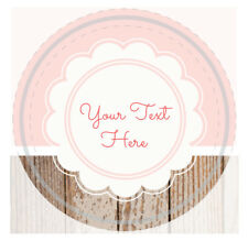 "YOUR TEXT HERE BIRTHDAY PARTY Sticker Pink Sheet Label 1 1/2"" Round, 20 labels"