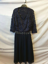ELISE RYAN ASOS NAVY BLUE DRESS LACE EMBELLISHED PARTY WEDDING FIT FLARE 8 GLAM