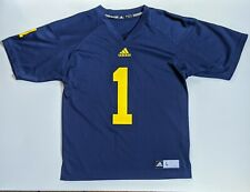Youth Adidas Michigan Wolverines #1 Football Jersey Size L Navy Blue Replica