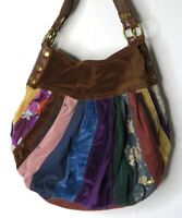 "Lucky Brand Large Multi-Colored Hippie Patchwork Suede.Hobo Bag 12""x 14""  RARE"