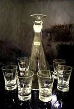 EKENAS SWEDEN DESIGNER FOLAKE LABEL CLEAR DECANTER WITH STOPPER & 6 SHOT GLASSES