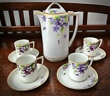 Rare Nippon Hand Painted Violets Chocolate Tea Set - Authentic Rising Sun Mark