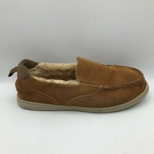 Rockport Mens Fleece Lined Brown Leather Moccasin Slippers Brown Moc Toe 10 M
