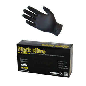 Black Nitrile Nitro Disposable Gloves 100 Pack Industrial Heavy Duty