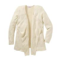 genial Strickjacke STRICKMANTEL Jacke Cardigan helles beige elfenbein Gr.46/48