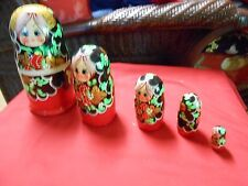 Great Collectible Nest of 5 Wood Russian Dolls.Sale. Free Postage Usa