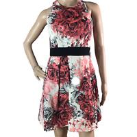 Karen Millen Floral Fit & Flare Dress Size 10 Ivory A-Line Cut Out Back
