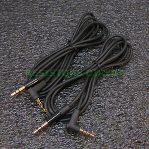2x Black High Quality Gold Plated 3.5mm Auxillary Cable Right Angle Audio S37