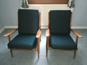 Scandart Mid Century Vintage Pair Easy Chairs Lounge Chair