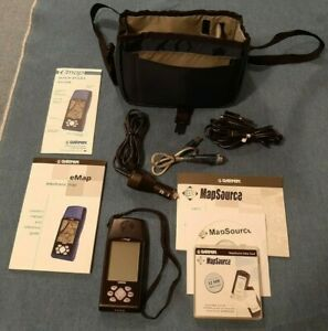 Garmin eMap AM Portable Handheld GPS Outdoor Hunting Fishing Hiking NICE Bundle