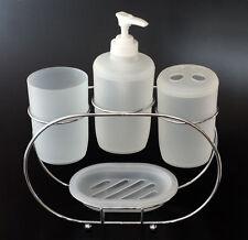 Set salle de bain en PLASTIQUE Blanc 4 piéces + support chromé savon verre
