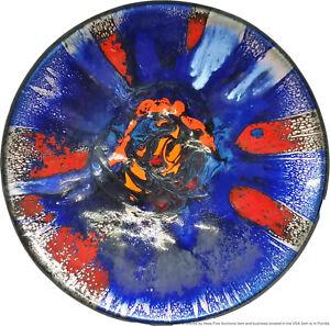 Huge Steinbock Austria MCM Enamel Metal Charger Plate Abstract Bowl Swirl