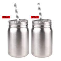 Mason Jar Cup Sports Bottle W/Straw Single/Double Wall Water Drink 500ml 700ml