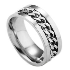Ring Finger Spinner Ring Toy Tua Fashion Women Mens Steel Rotatable Chain Band