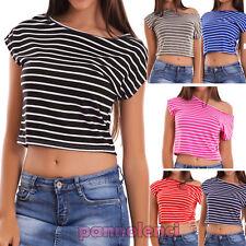 Maglia donna top corta maglietta righe manica corta sexy girocollo nuova AS-2295