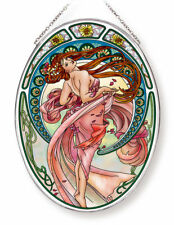 """DANCE WOMAN DANCING AMIA STAINED GLASS SUNCATCHER 6.5"""" X 9"""" OVAL   42715"""