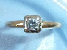 Vintage 14K Yellow Wedding Gold Ring, 3.25mm Diamond, TCW .14 Carat, Size 6.25