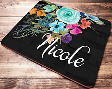 Custom Name Personalized Mouse Pad Turquoise Flowers Computer Desk Accessories