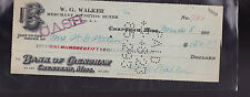 Bank of Crenshaw Mississippi Used Bank Check 1920s WG Walker Buxton Green