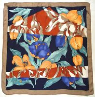 Designer JAMMERS LEUFGEN JL Floral ABSTRACT Green Blue BROWN Jacquard Silk SCARF