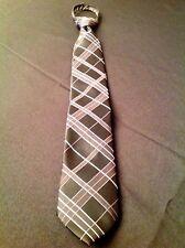 George Mens Classic Tie Black White Multi Striped 100% Silk