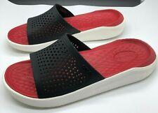 CROCS LiteRide Black Slides Red Insole Sandals Unisex Men SZ 7, Women SZ 9
