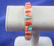 Davis Rosales Sterling Silver Cuff Bracelet Indian Summer Cobble Inlaid