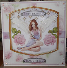 Handmade pagan religious daughter birthday card a fantasy angel in lilac & pink
