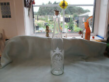 More details for acid etched glass apothecary bottle cork & silver plated top