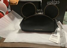 NWT COACH 1st Edition Mickey Mouse Kisslock Purse Wristlet Black Leather 65794