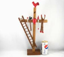 QUEBEC PRIMITIVE FOLK ART WOOD CARVING CROSS ROAD/CROIX DE CHEMIN BY E.BLUTEAU