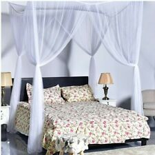 4 Corner Mosquito Net Post Bed Canopy Curtain for Large Queen Size White