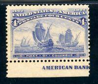 USAstamps Unused FVF US 1893 Columbian Expo Fleet of Columbus Scott 233 OG MH