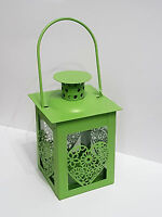 Laterne / Leuchte grün Herz Metall / Windlicht / Teelichthalter Deko zum Hängen