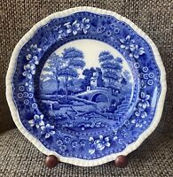 """Antique Copeland Spode 9"""" Blue Plate Dated 1894 Spode's Tower Embossed Rim"""