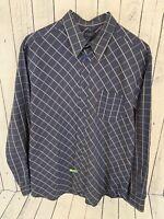 TED BAKER Men's Blue Plaid Long Sleeve Button Front Shirt Size 6