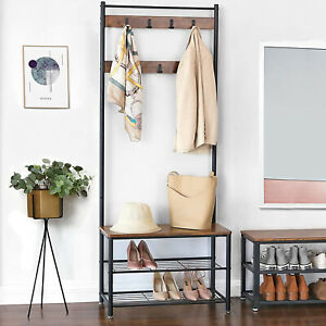 5.7FT Hall Tree Hat and Coat Stand Hallway Shoe Rack Bench with Shelves Hooks