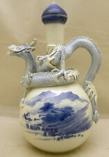 Beautiful Japanese Meiji Blue & White Hirado Jug / Ewer w/ Dragon