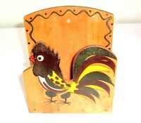 Vintage Wood Rooster Kitsch Woodpecker Woodware Wall Mount Mail/Napkin Holder