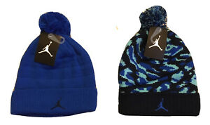NWT NIKE AIR JORDAN JUMPMAN Pom Beanie Hat, Navy Camo or Solid Blue or Black Cam